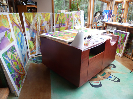 "Studio of Laurie Kathleen Clark, WA SDA member, artist, and sacred space consultant for ""Heartitude: Art + Soul"""
