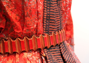 Detail of Red Delphos Dress and Jacket, 2008