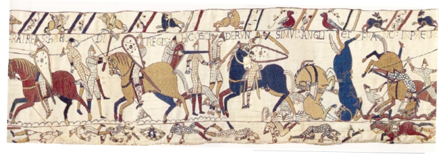 A portion of the 70 meter long Bayeux tapestry, embroidered in approximately 1070 CE.