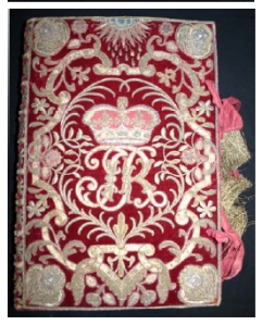 17th Century red velvet embroidered Bible owned by James II, King of England (1633-1701.)