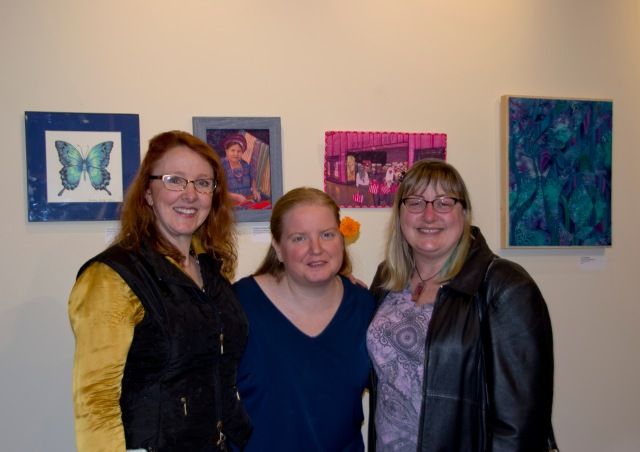 Artists Christina Fairley Erickson, Crystal Edwards, and Rebecca Wachtman at the exhibition opening.