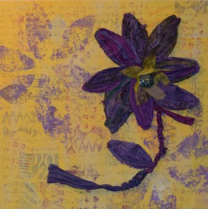 Serenity Flower by Deb Taylor. Painted canvas with repurposed Silk Sari ribbon.