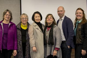 Fiber Fusion Jury and Helpers from left to right: Carla Stehr, Barbara Matthews, Young Chang, Layne Goldsmith, Rock Hushka, Christina Fairley Erickson